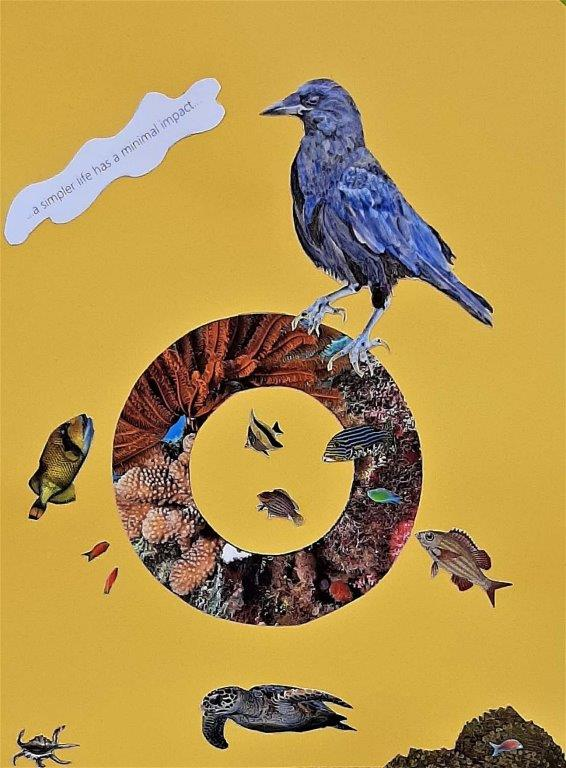 Alison Keenan_ Avian Fables 2_A simpler life has a minimal impact_8 x 11 inches_ mixed media