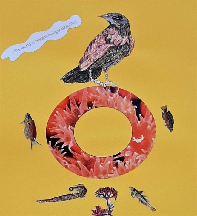 Alison Keenan_Avian Fables 4_The world is breathtakingly beautiful_8 x11 inches_mixed media