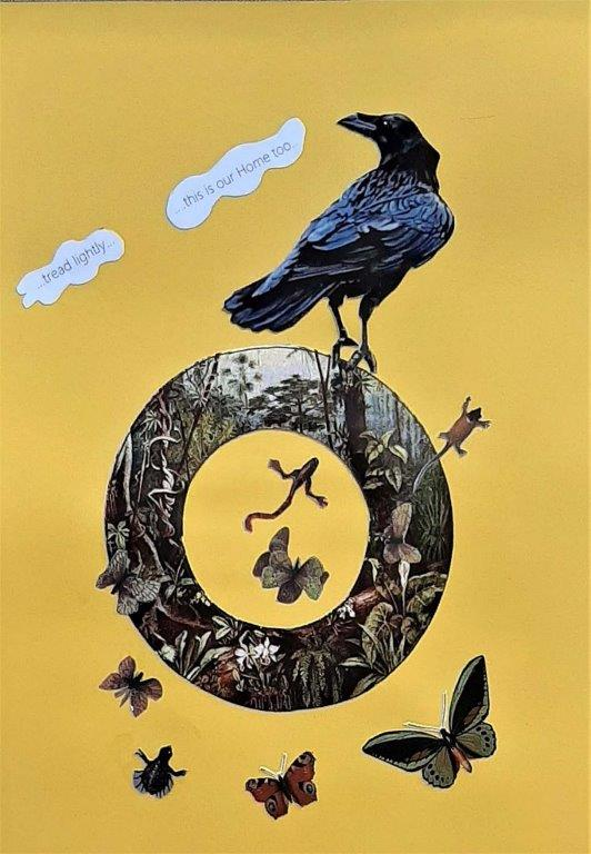 Alison Keenan_Avian Fables 6_Tread lightly_8 x 11 inches_mixed media