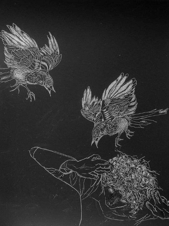 AlisonKeenan_Chaos_DrawingOnBlackScratchBoard_9x12in
